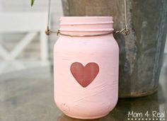 Painted Mason Jar Lantern - Valentine Day Mason Jar - Mason Jar Valentine Craft Ideas - Heart Jar