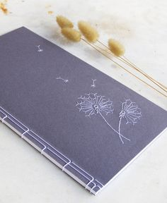 Embroidered Dandelion Journal. Flowers Notebook. Romantic Journal. Nature Notebook. Purple Floral Book. Poetry Journal. Lavender Book