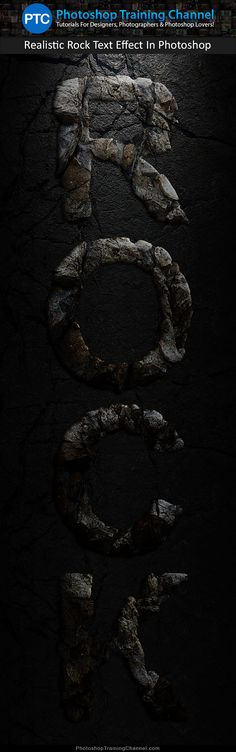 Create a realistic rock text effect in Photoshop.