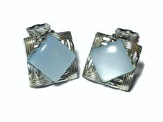 "CIJ sale 25% off now plus FREE shipping! No coupons needed! Coro moonglow earrings, 1940s blue grey moonglow lucite sqare clip-on in silver tone.  At  3/4"" (1.9 cm) square, they are in very good #vintage condition except for the back... #etsygifts #vjse2 #jewelry #gift"