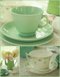 Pretty mint teacups my favourite green