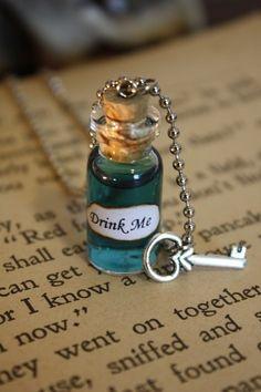 Alice in Wonderland Drink Me Vial Necklace Drink by spacepearls