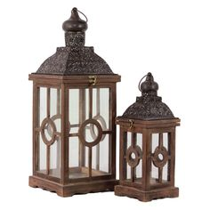Urban Trends Rectangular Wood and Glass Lantern with Brown Onion Dome Pierced Metal Top - Set of 2 - 94617