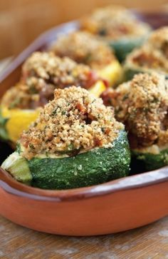 Provencal-style Stuffed Zucchini - a great side dish for Thanksgiving, or any meal! #EmerilsHoliday
