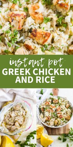 This instant pot greek chicken is covered in olive oil and herb marinade and cooked in 10 minutes with the rice for a one pot meal. This recipe is so easy and great for meal prep greek chicken bowls. Its gluten free and dairy free too! Best Instant Pot Recipe, Instant Recipes, Instant Pot Dinner Recipes, Healthy Dinner Recipes, Meal Recipes, One Pot Recipes, Instant Pot Meals, Healthy One Pot Meals, Healthy Chicken