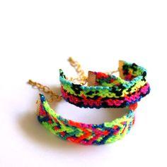 Bright Neon Friendship Bracelet. by makunaima on Etsy
