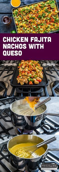 Having friends over? Try this recipe for Chicken Fajita Nachos with Queso by Dennis Prescott to take this classic party food up a notch.   Use the griddle attachment and broiler on the Frigidaire Professional range for evenly cooked fajita chicken, crispy tortilla chips, and delicious melted cheese.