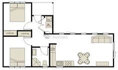 L shaped 50 sqm granny flat plan L Shaped House Plans, Small House Plans, House Floor Plans, Modern Tiny House, Small House Design, Granny Flats Australia, The Plan, How To Plan, Granny Flat Plans