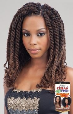 """Freetress Equal Synthetic Hair Braids Double Strand Style Cuban Twist 12"""" Cuban Twist Braids for a Havana Style and Double Strand Style 100% permium Soft Kaneka"""