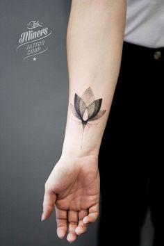 Fleur - Tatoo - Tatouage - Dessin en point: