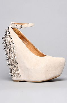 The Spike Aubrey Shoe in Nude Suede and Silver by Jeffrey Campbell