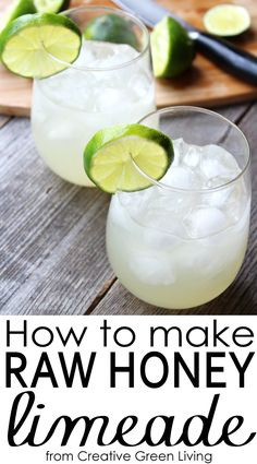 Learn how to make paleo friendly raw honey limeade. Includes recipes for both traditional limeade and a honeyed blueberry limeade - featuring BeeLoved Trading raw honey.