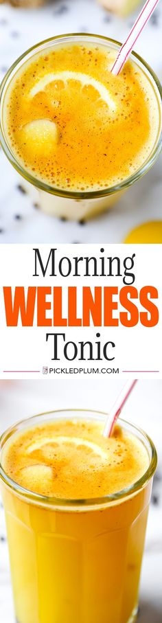 Morning Wellness Tonic - Add a little zing to your morning with this spicy, cleansing and invigorating wellness tonic! Healthy drink recipe, turmeric, coconut water, weightloss, diet | pickledplum.com