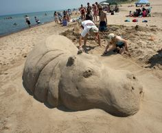 annual Sand Sculpture contest brings creations to Indiana Dunes State Park! Cute Hippo, Indiana Dunes, Snow Sculptures, Snow Art, Grain Of Sand, Beach Art, Urban Art, State Parks, Animals