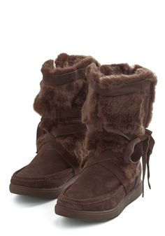 In Pursuit of Hirsute Boot. Get the warm, snuggly style you seek by donning these mocha-brown faux-fur boots from Report Signature. #brown #modcloth