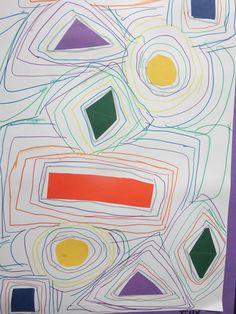 Kindergarten shape/line study Line Art Projects, Classroom Art Projects, School Art Projects, Art Classroom, Art Projects Elementary, Elementary Art Rooms, Kindergarten Drawing, Kindergarten Art Lessons, Art Lessons For Kids