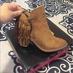 Fringe booties Brand new only worn once , super cute ! Have them in black as well if interested Charlotte Russe Shoes Ankle Boots & Booties