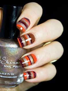 Fall Stripes - Nail Art luv it ! Chic Nails, Fun Nails, Pretty Nails, Nail Art Stripes, Striped Nails, October Nails, Thanksgiving Nail Art, Manicure E Pedicure, Fall Nail Art