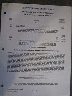1969 Corvette Options List page 1 of 3