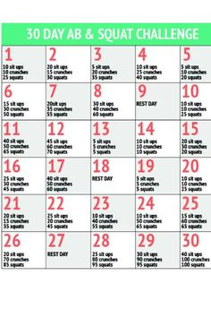 Sit Up And Squat Challenge 30 day challenge- sit ups,