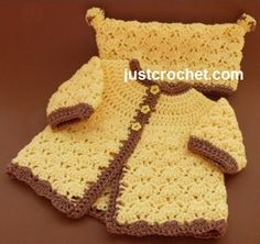 Free baby crochet pattern coat and hat set usa
