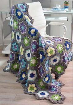 """Blooming Flowers Crochet Throw ~ UPDATED APRIL 14, 2017 ~ intermediate level ~ finished size 44"""" x 56"""" ~ FREE - CROCHET"""