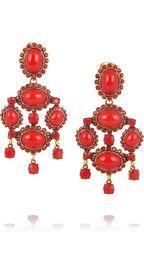Oscar de la Renta24-karat gold-plated cabochon clip earrings