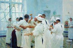 Il chirurgo E. Pavlov in sala operatoria, oliio di Ilya Yefimovich Repin (1844-1930, Russia)