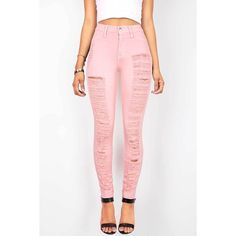 Pink Ice Torn Avalanche High Waist Skinny Jeans ($50) ❤ liked on Polyvore featuring jeans, pink, skinny jeans, high waisted white skinny jeans, ripped jeans, distressed skinny jeans and white distressed skinny jeans