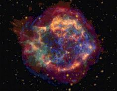 This June 2005 NASA false-color picture shows the supernova remnant of Cassiopeia A. This image is made up of images taken by NASA's, Spitzer Space Telescope, Hubble Space Telescope and the Chandra X-ray Observatory. Cosmos, Space Photos, Space Images, Spitzer Space Telescope, Neutron Star, Historia Natural, To Infinity And Beyond, Milky Way, Science And Nature