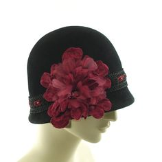 33fe9ca33c8 Black Cloche Felt Hat for Women - Edwardian Fashion Hat - Red Flower