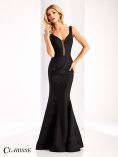 Clarisse Couture Brocade Prom Dress 4802. Sophisticated black mermaid evening gown. | Promgirl.net