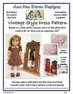 "Vintage Style Doll Dress Pattern for 18"" dolls such as American Girl®"