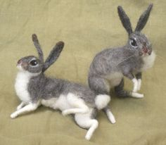 Needle felted grey bunny rabbit by Ainigmati on Etsy, $115.00