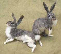 Needle felted grey bunny rabbit.