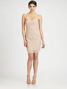 BCBGMAXAZRIA Strapless Lace Dress - Saks - $107.20