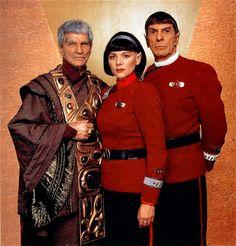Sarek (Mark Lenard), Valeris (Kim Cattrall), and Spock (Leonard Nimoy) Star Trek Star Trek 1, Star Trek Crew, Film Star Trek, Star Trek Spock, Star Trek Series, Star Trek Original Series, Star Trek Enterprise, Star Trek Voyager, Leonard Nimoy