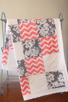 Coral and Gray baby girl blanket. Modern Baby lightweight quilt. Coral chevron and gray quilt