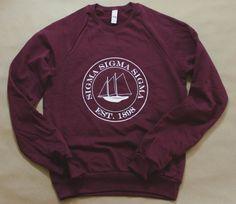 Soft, comfy fleece sweatshirt with nautical Sigma Sigma Sigma logo. Hand screen-printed with quality, long-lasting inks that dont fade. 100% Cotton  #TriSigma #SigmaSigmaSigma #sorority