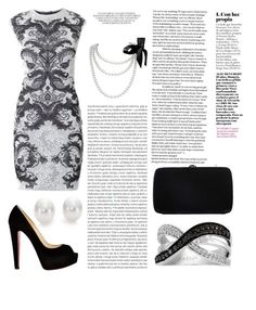 """Black and white"" by tjoyreeves1 ❤ liked on Polyvore featuring Alexander McQueen, LeVian, Mikimoto, Christian Louboutin, Sergio Rossi and Oris"