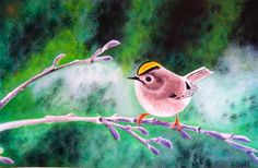 Art print from original acrylic painting, Gold crest, bird, British birds, nature by ByGaddArtandDesign on Etsy