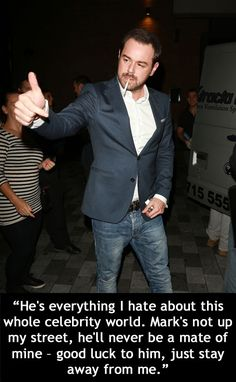 Since Danny Dyer joined the cast of 'EastEnders' as Queen Vic landlord Mick Carter in it's fair to say his reputation as a bad boy has lessened somewhat. Mick Carter, Queen Vic, Up In Smoke, British Boys, My Man, Bad Boys, Actors & Actresses, Best Quotes, Suit Jacket