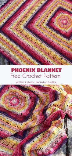 Crochet afghans 180144053831656900 - Phoenix Blanket Free Crochet Pattern Source by LazyLaeti Crochet Afghans, Crochet Quilt Pattern, Crochet Square Blanket, Granny Square, Ravelry Crochet, Crochet Blanket Patterns, Baby Blanket Crochet, Crochet Crafts, Crochet Yarn