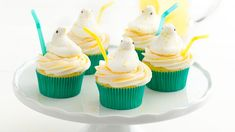 Homemade lemon buttercream on top of lemon cupcakes is even more delicious when capped off with tangy lemonade marshmallow PEEPS® chicks!