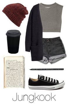 """Writing Music with Jungkook"" by btsoutfits ❤ liked on Polyvore featuring Norma Kamali, Inverni, PèPè, H&M, Converse, Design Letters and adidas"