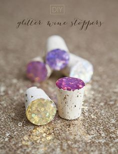 DIY Favors-Gifts // How to make Glitter Wine Stoppers with a 'glass like' top... super fab and only cost $0.60 each! Perfect favors for your bridal shower or bachelorette party!!! #somethingturquoisediy