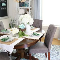 Upholstered chairs plus open shelving in the dining room Open Dining Room, Upholstered Chairs, Open Shelving, Furniture, Room Makeover, Table Makeover, Diy Home Decor, Dining, Diy Home Decor Projects