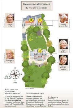Infographie du château de Montretout: où ont vécu les différents membres de la famille Le Pen.