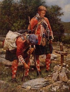 Two Regiment Highlanders pay respects to their fallen comrade in this painting by Robert Griffing American Revolutionary War, American War, British Soldier, British Army, Military Art, Military History, Military Uniforms, British History, American History