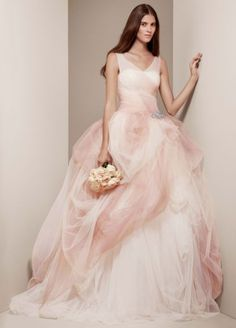The Beauty of a Wedding Gown is this; Take a screen print of the dress, then take it to David's Bridal - they will get it for you - Ombre Tulle Ball Gown with Pick Up Skirt! <3